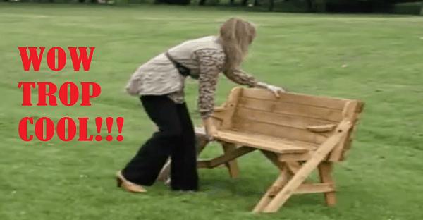 banc de parc qui devient une table
