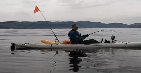 il capture une pieuvre à la pêche